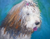 Dog Painting Print, Giclee Print on Canvas, Dog Potrait, Old English Sheepdog, free shipping, choose your size