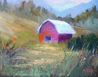 """Barn Oil Painting, Small Oil Painting, Daily Painting, 9x12"""" Landscape, Palette Knife Painting"""