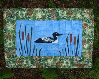 Loon in the Lake Quilted Wallhanging