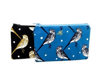 Small Zipper Pouch, Fabric Pouch, Coin Purse, Change Pouch, Bird Pouch, Pouch, Small Wallet, Gift Pouch, Echino Birds on Blue or Black