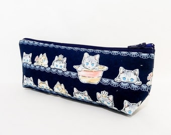 Cat Pouch, Cosmetic Bag, Pencil Pouch, Zipper Pouch, Fabric Pouch, Pouch, Gift for Her, Gift Under 20, Change Purse, Cute Cat Hiding in Hat
