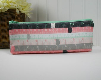 Long Zipper Pouch, Long Pencil Case, Pencil Pouch.. Sew Charming Rulers in Mint