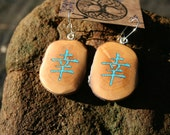 Rhododendron Wood HAPPINESS Kanji. Inlaid with Turquoise -- Wooden Jewelry,