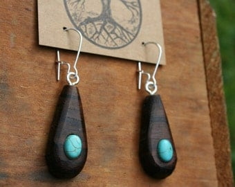 Wood & Turquoise Earrings- Sustainable Wood Jewelry- Black Walnut Wood Earrings- Natural Wood Jewelry- Eco Earrings