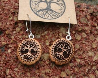 Wood Tree of Life Earrings- in  Juniper,  - Wooden Jewelry,