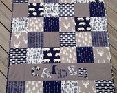 Navy Blue Modern Personalized Baby Quilt - Blanket - Crib Size - Animals - Gray - Woodland - Deer - Antlers - Arrows
