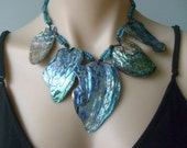 RESERVED FOR CRISTAL Paua Shell New Zealand Abalone Statement Necklace Iridescent Large Natural shells Macrame Knotted Adjustable