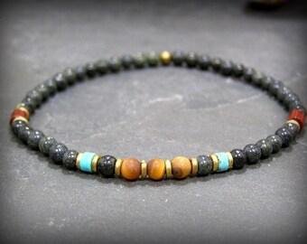 Mens Beaded Bracelet, Turquoise Bracelet, Mens Jewelry, Minimalist Bracelet, Green Serpentine Bracelet, Tiger Eye Bracelet, Mens Bracelet