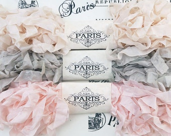 Seam Binding,Scrunched, Shabby Crinkled Ribbon, Blush, Pink, Beige, Rayon Ribbon,Doll Making, French Vintage, Crazy Quilting, Infinity