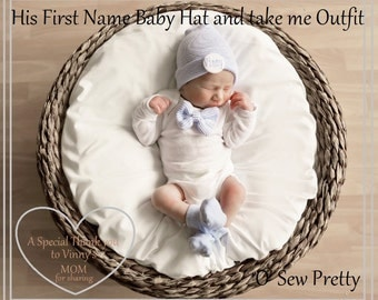 Newborn Boy Bow-tie outfit with matching personalized hat and sock set, Newborn Boy Gift Set, baby boy, take me home baby hospital outfit
