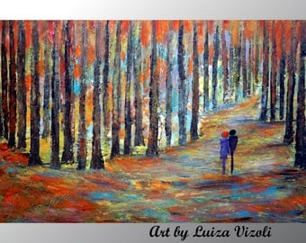 Fall Romance Landscape Painting Original Large Canvas Birch Trees Palette Knife Impasto OIl Painting by Luiza Vizoli