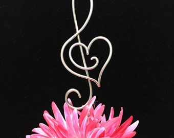 Treble Clef Music Note and Musical  Heart Wedding Cake topper  Music Lover