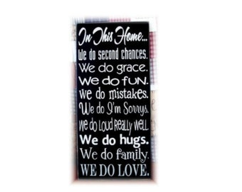In this home ... Family Rules Typography wood sign subway art