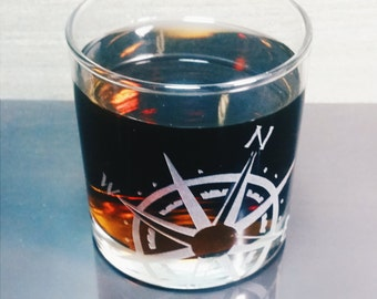 Nautical Compass Rose Etched Old Fashioned | Scotch | Rocks Glass