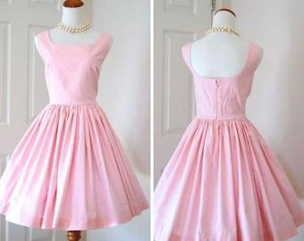 Vintage Style Tea Dress Bridesmaids Garden Parties or Madmen Era Mid Century Pale Pink