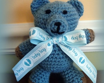 Hand Crochet Teddy Bear, Baby Shower Gift, New Baby Boy