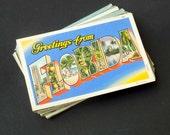 50 Florida Vintage Postcards Linen - Travel Themed Save the Dates, Wedding Registry, Greetings (Unused)