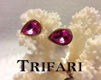 Vintage Trifari pink rhinestone teardrop pierced earrings.