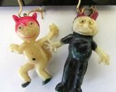 Celluoid Figural Earrings Devil Diablo Imps Cartoon Horns Pierced earrings