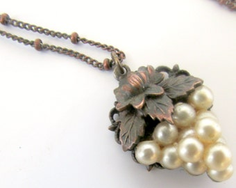 Victorian Grape Cluster Necklace Faux Seed Pearls Copper Antique Finish Pendant Dainty Intricate Detail