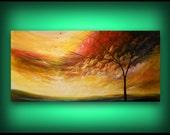"HUGE 72"" cloud sky art painting tree painting large art modern impressionist original abstract landscape acrylic wall art wall decor"