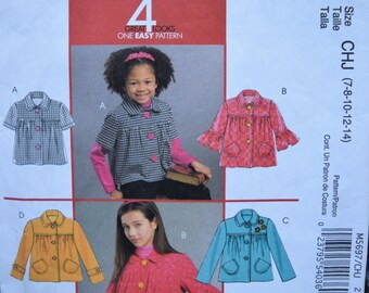 McCalls M5697 4 Great Looks, One easy Pattern Children's and Girl's Jackets in sizes 7-8-10-12-14 (uncut)