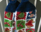2 Crocheted Holiday Hanging Kitchen Towels - Christmas Cookies