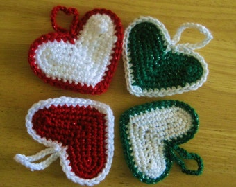 Set of 4 Crocheted Christmas Tree Decorations - Holiday Hearts