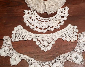 Antique lace collars, Lot of four,  handmade lace, vintage lace collar, Edwardian collar