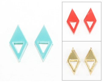 Geometric Double Triangle Acrylic Post Earrings - Laser Cut Jewelry (Choose Mirror Gold, Turquoise, or Coral)