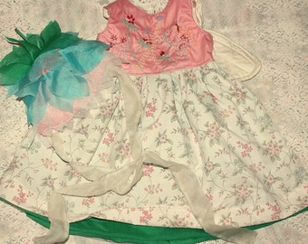 flower fairy embroidered dress with silk wings & flower petal bonnet for 3-4yr