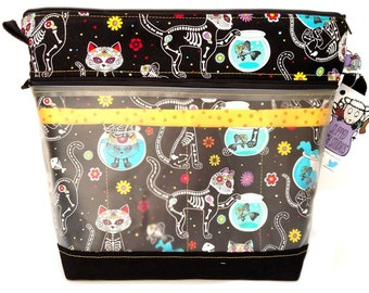 NEW! Go Crafty Travel Case - Needle Organizer - Sugar Skull Kitty