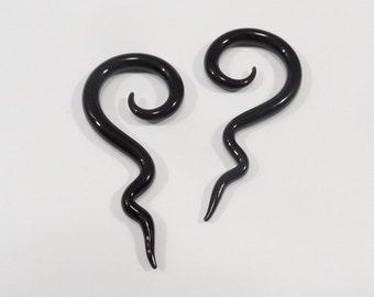 Glass spirals 6g black glass spiral