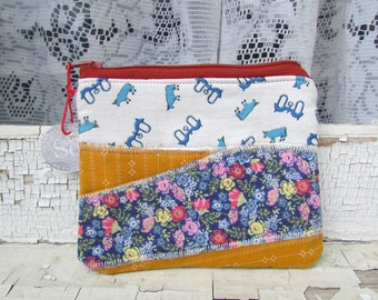 the Oxen pouch ... one of a kind, cotton zip pouch