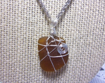 "20"" Adjustable Silvertone Necklace with Genuine Brown Wire Wrapped Seaglass Pendant"