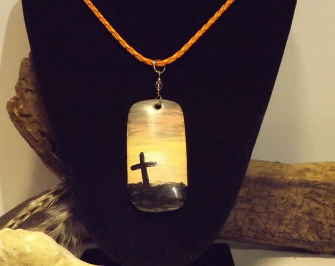 Hand Painted China Pendant Necklace, Spiritual Necklace
