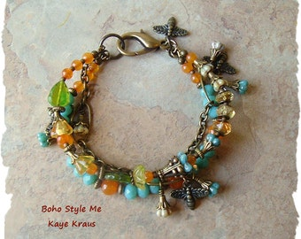 SALE - BEE Jewelry, Boho Bracelet, Gypsy Queen Bee Charm Bracelet, Honey Nature Bracelet, BohoStyleMe, Kaye Kraus