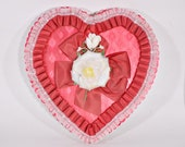 """Vintage Large 13"""" Red Heart Borden Chocolate Box"""