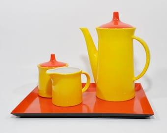Mid Century Coffee Set - Yellow and Orange - Coffeepot, Creamer, Sugar and Tray