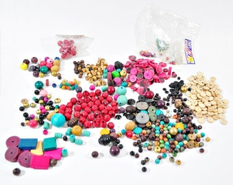 Large Lot of Assorted Wood Beads - Over 1 lb.!