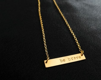 Hand stamped gold bar necklace--Custom and personalized with a name, initials, date, inspirational word-- The Gold Bar Necklace