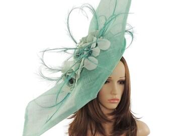 Elisaveta Mint Fascinator Hat for Weddings, Races, and kentucky Derby With Headband