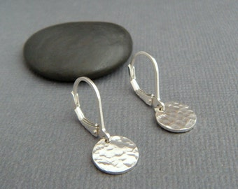 """NEW tiny sterling silver dangles. hammered circle earrings. petite everyday sterling jewelry leverback lever back drop latchback latch. 3/8"""""""