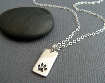 tiny silver paw print rectangle necklace small sterling silver pet pride pendant pawprint charm simple animal lover dog cat jewelry 1/2""