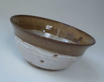 Rustic Brown with White Berry Bowl, Wedding and Kitchen Shower Gift, Ceramic Colander, Ships Fast, Small Handmade Stoneware Fruit Bowl