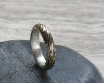 Mokume Gane ring 5mm Size 7 mixed metals,  Sterling silver liner