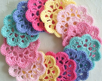Mini Doily Flowers - variety, colorful mix, pastels, set of 12