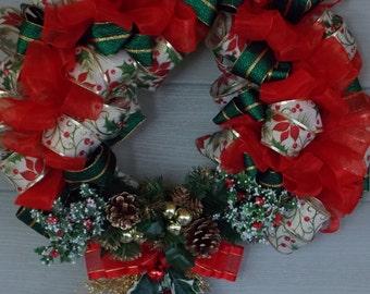 Christmas Holiday  Ribbon Door Wreath, Ribbon Wreath