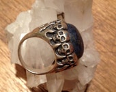RESERVED Skull Lapis Sterling Silver Biker Ring Gypsy Boho Hippie Festival Statement Size 7.5 Mens Mage Shaman Witch