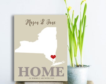 Home is where i am with you Long Distance couple 5 year Anniversary 10th Anniversary Gift for Him Custom Map Art Texas State wedding Gifts